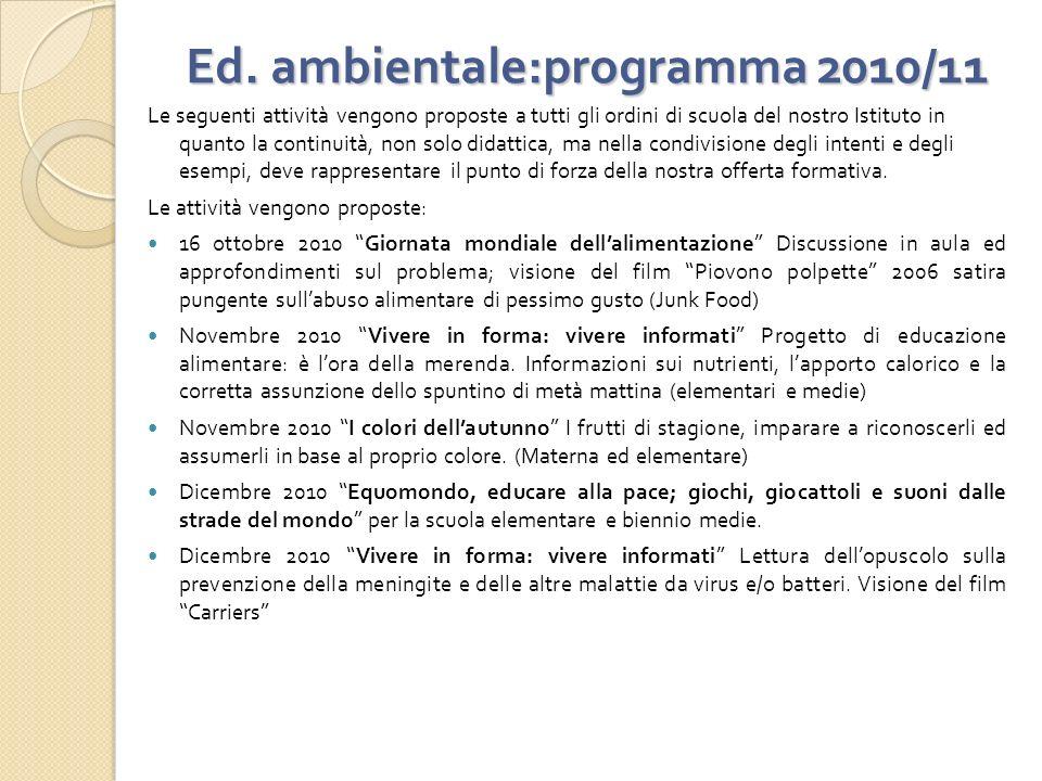 Ed. ambientale:programma 2010/11