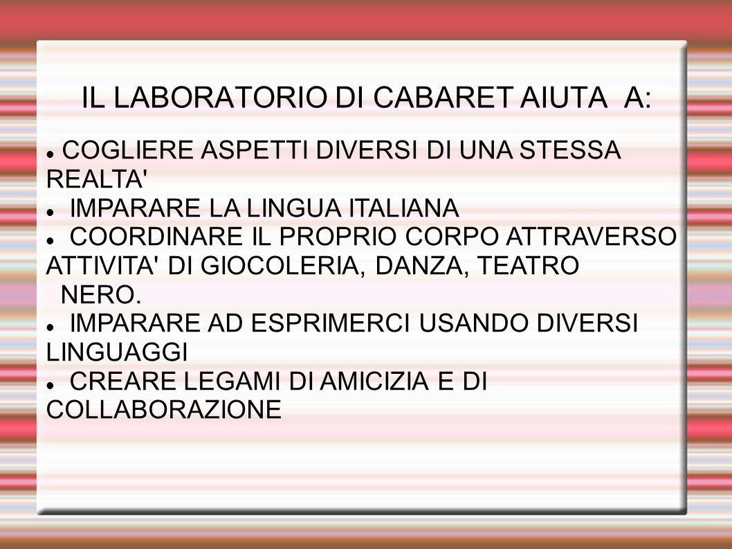 IL LABORATORIO DI CABARET AIUTA A: