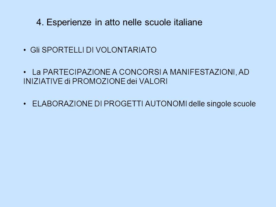 4. Esperienze in atto nelle scuole italiane