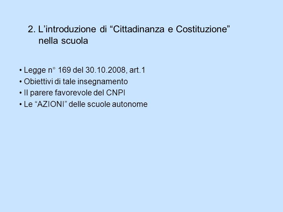 2. L'introduzione di Cittadinanza e Costituzione nella scuola