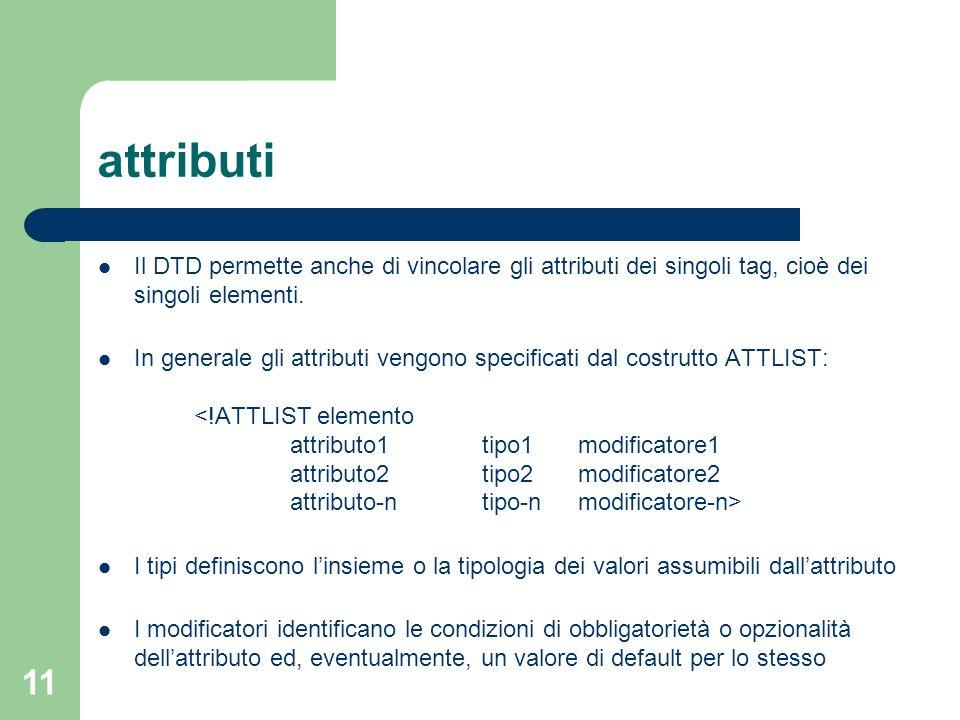 attributiIl DTD permette anche di vincolare gli attributi dei singoli tag, cioè dei singoli elementi.
