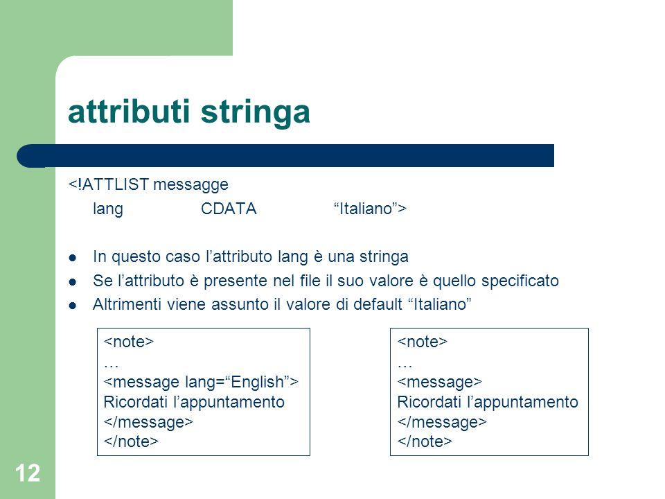 attributi stringa <!ATTLIST messagge lang CDATA Italiano >