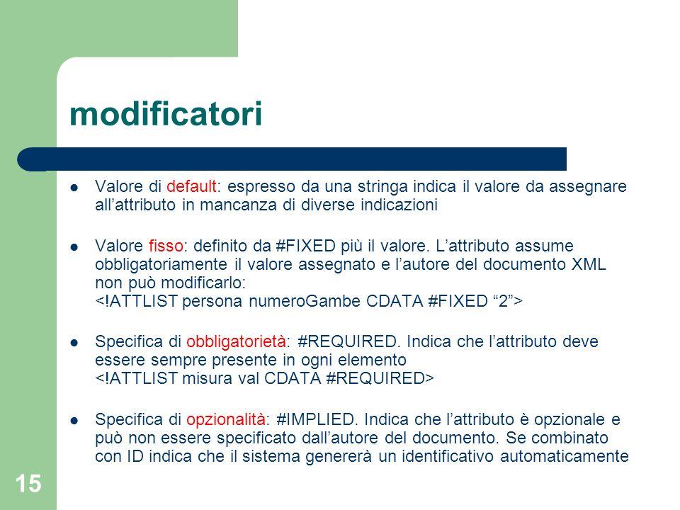 modificatori Valore di default: espresso da una stringa indica il valore da assegnare all'attributo in mancanza di diverse indicazioni.
