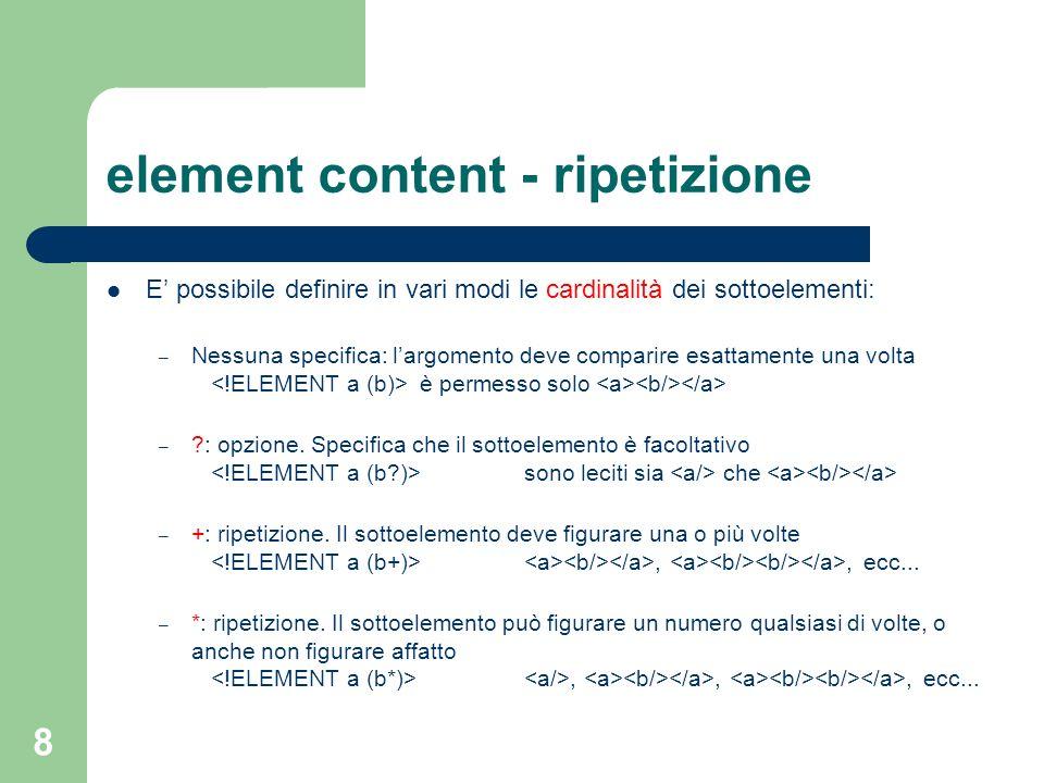 element content - ripetizione