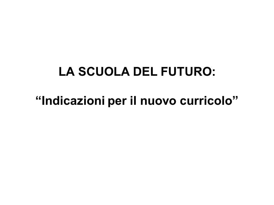 LA SCUOLA DEL FUTURO: Indicazioni per il nuovo curricolo
