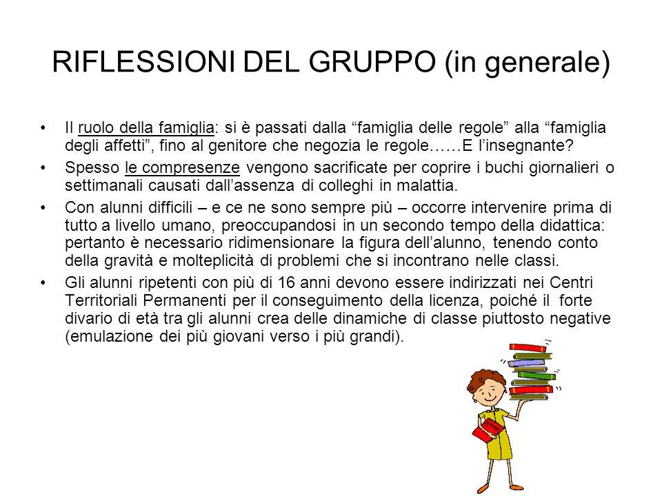RIFLESSIONI DEL GRUPPO (in generale)