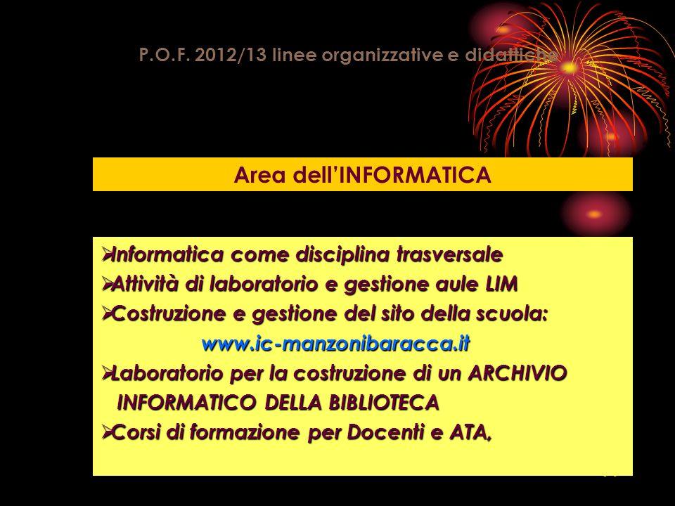 P.O.F. 2012/13 linee organizzative e didattiche Area dell'INFORMATICA