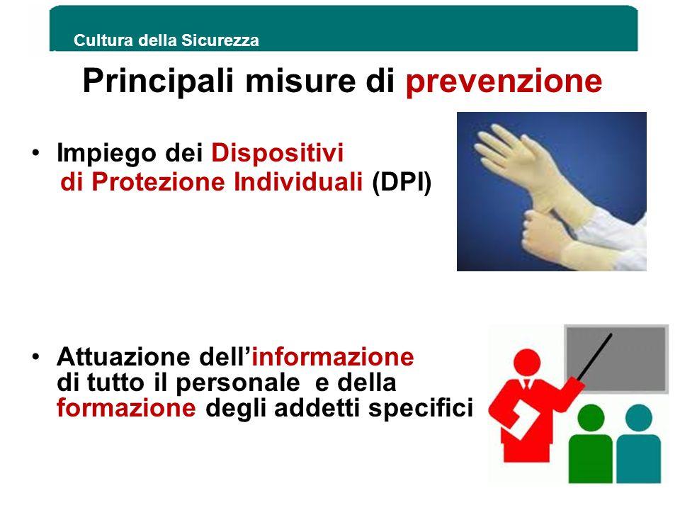 Principali misure di prevenzione Impiego dei Dispositivi