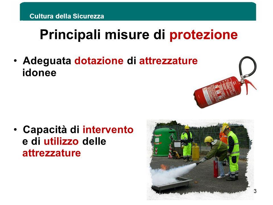 Principali misure di protezione Adeguata dotazione di attrezzature