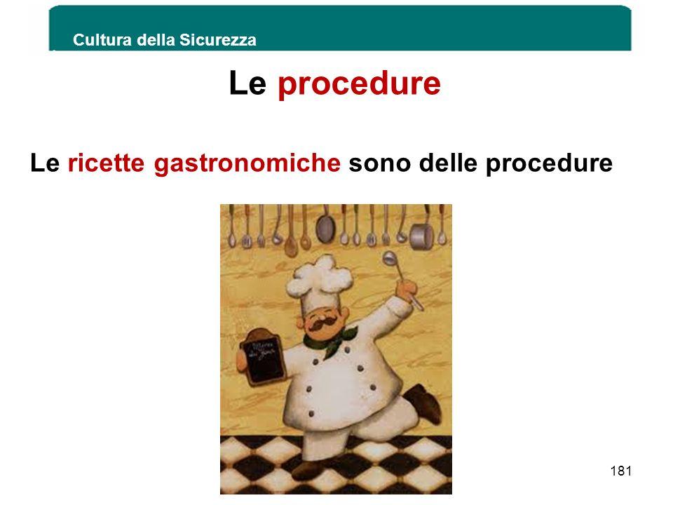 Le procedure Le ricette gastronomiche sono delle procedure