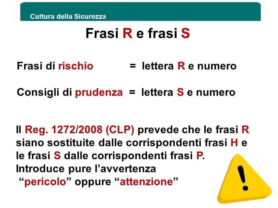 Frasi R e frasi S Frasi di rischio = lettera R e numero