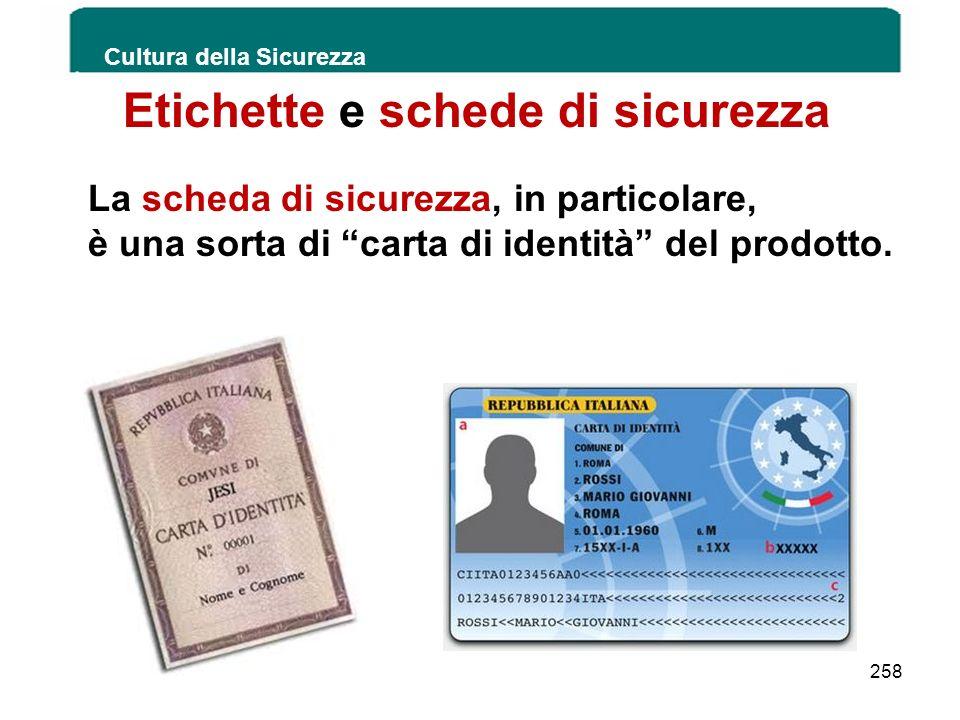 Etichette e schede di sicurezza