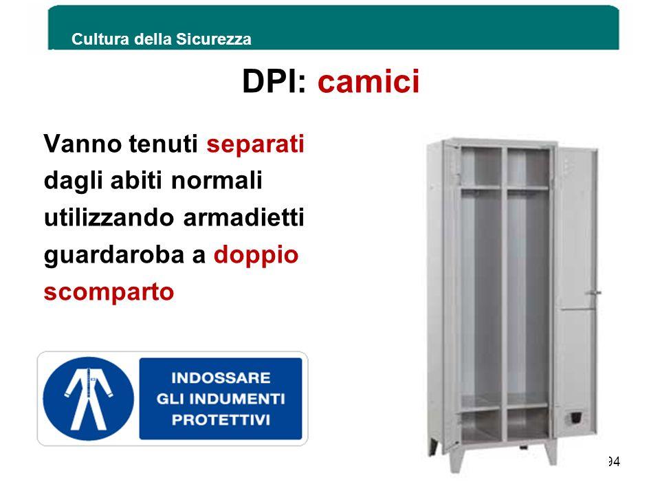 DPI: camici Vanno tenuti separati dagli abiti normali
