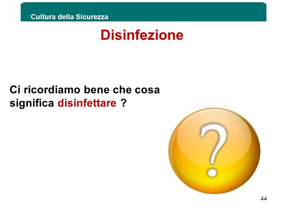 Disinfezione Ci ricordiamo bene che cosa significa disinfettare