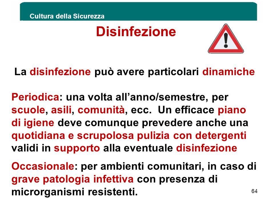 Disinfezione La disinfezione può avere particolari dinamiche