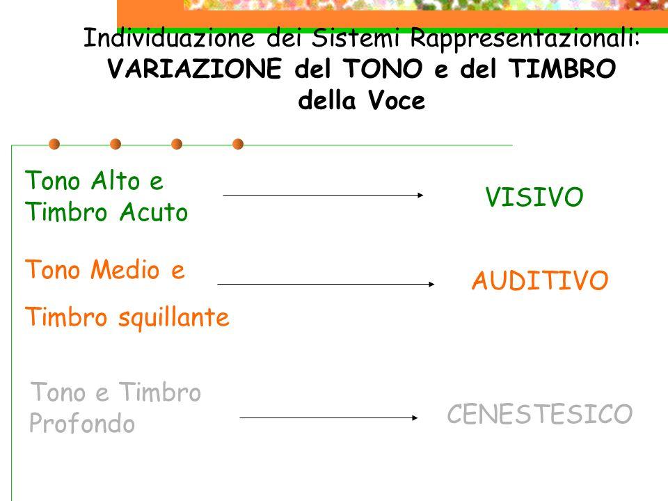 Individuazione dei Sistemi Rappresentazionali: VARIAZIONE del TONO e del TIMBRO