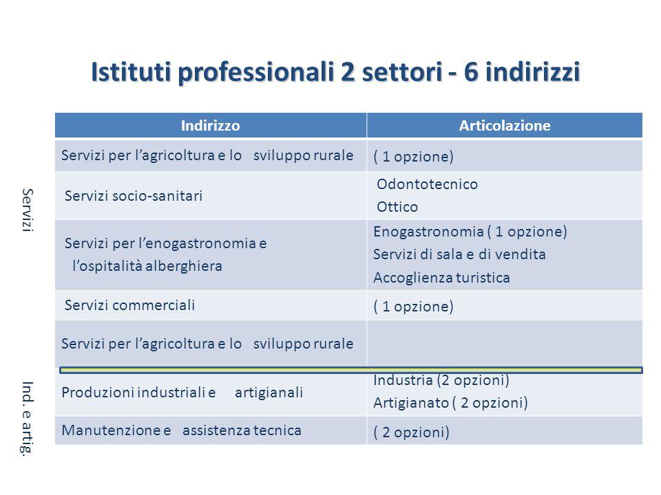 Istituti professionali 2 settori - 6 indirizzi