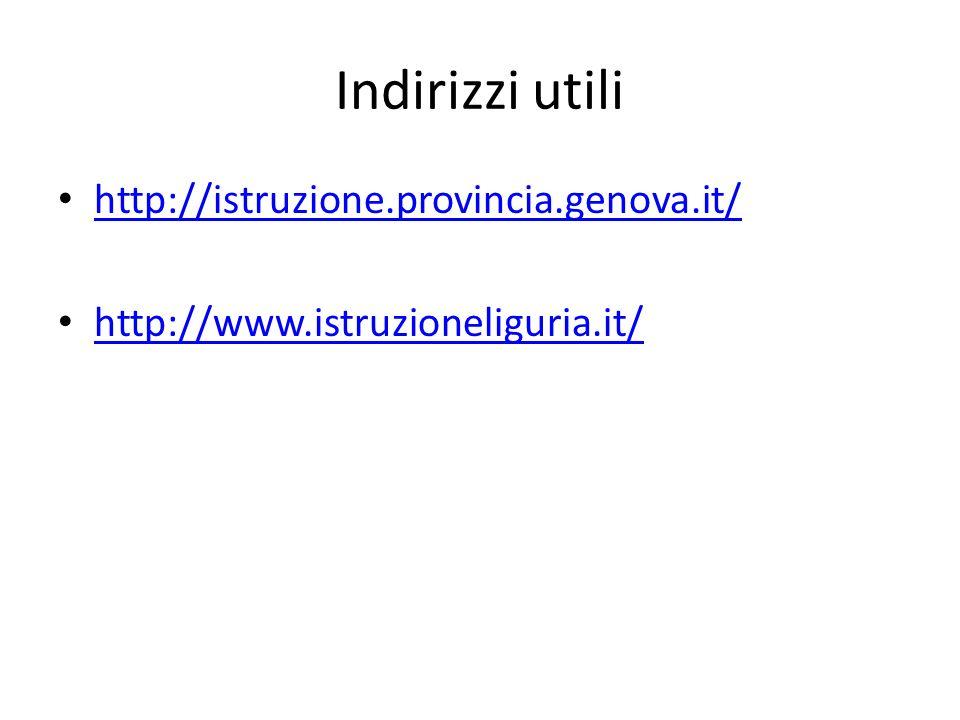 Indirizzi utili http://istruzione.provincia.genova.it/