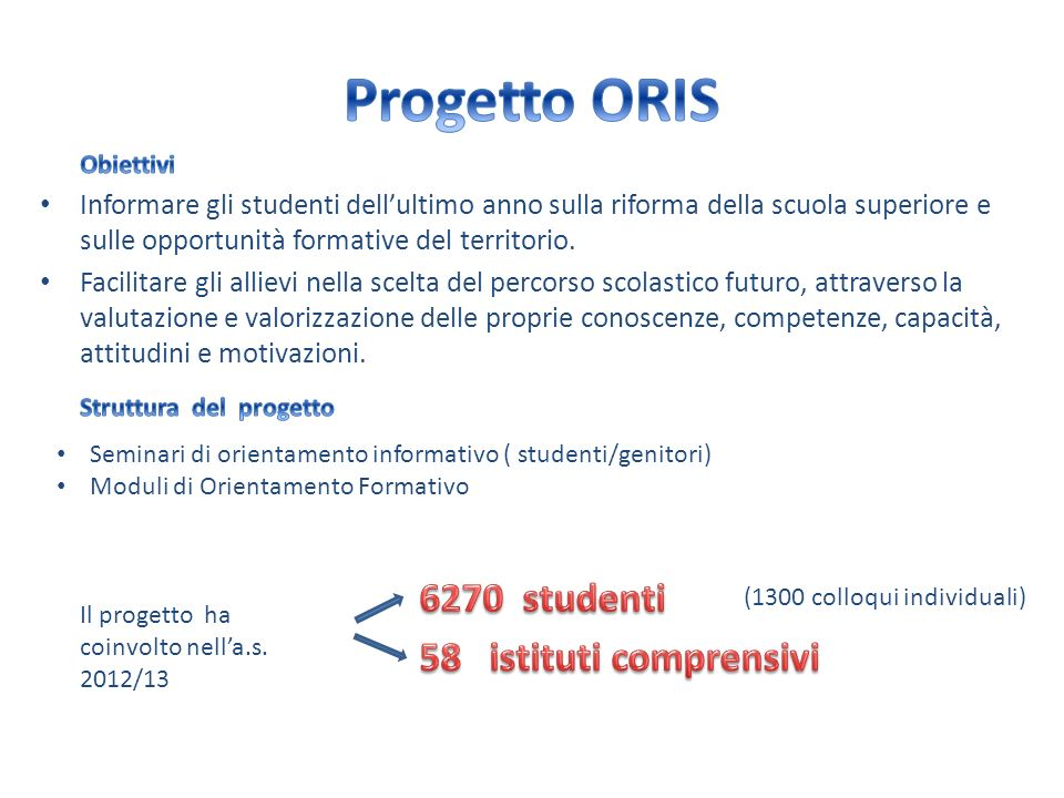 Progetto ORIS 6270 studenti 58 istituti comprensivi