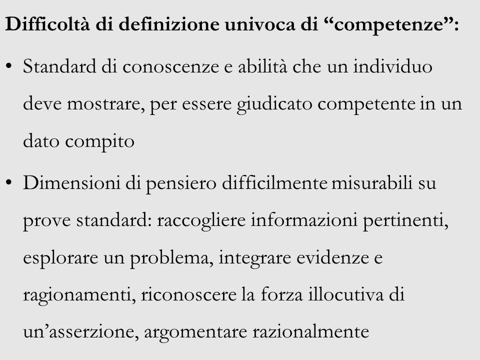 Difficoltà di definizione univoca di competenze :