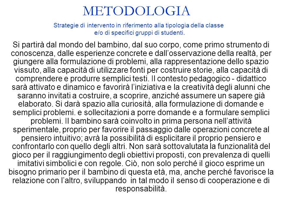 METODOLOGIA Strategie di intervento in riferimento alla tipologia della classe. e/o di specifici gruppi di studenti.