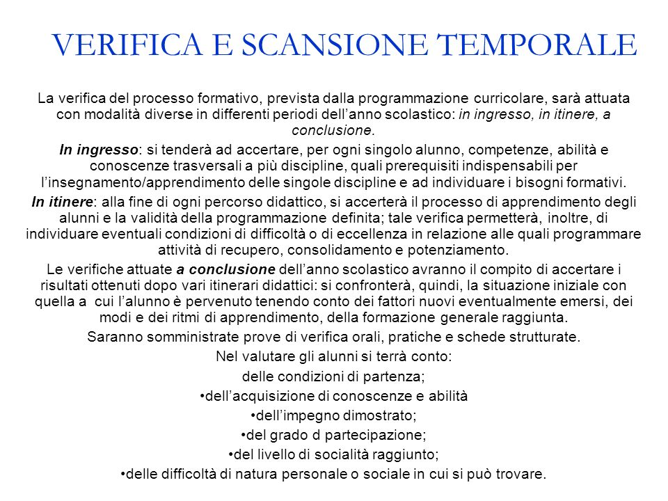 VERIFICA E SCANSIONE TEMPORALE