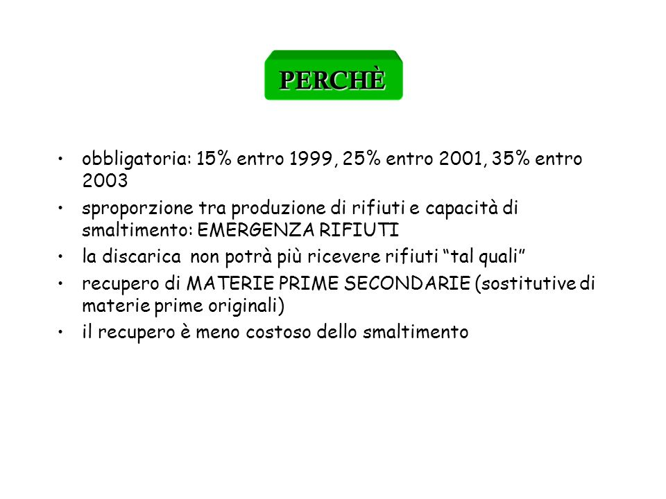 PERCHÈ obbligatoria: 15% entro 1999, 25% entro 2001, 35% entro 2003