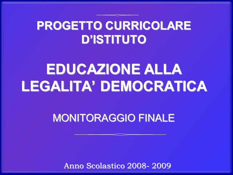 PROGETTO CURRICOLARE D'ISTITUTO EDUCAZIONE ALLA LEGALITA' DEMOCRATICA MONITORAGGIO FINALE