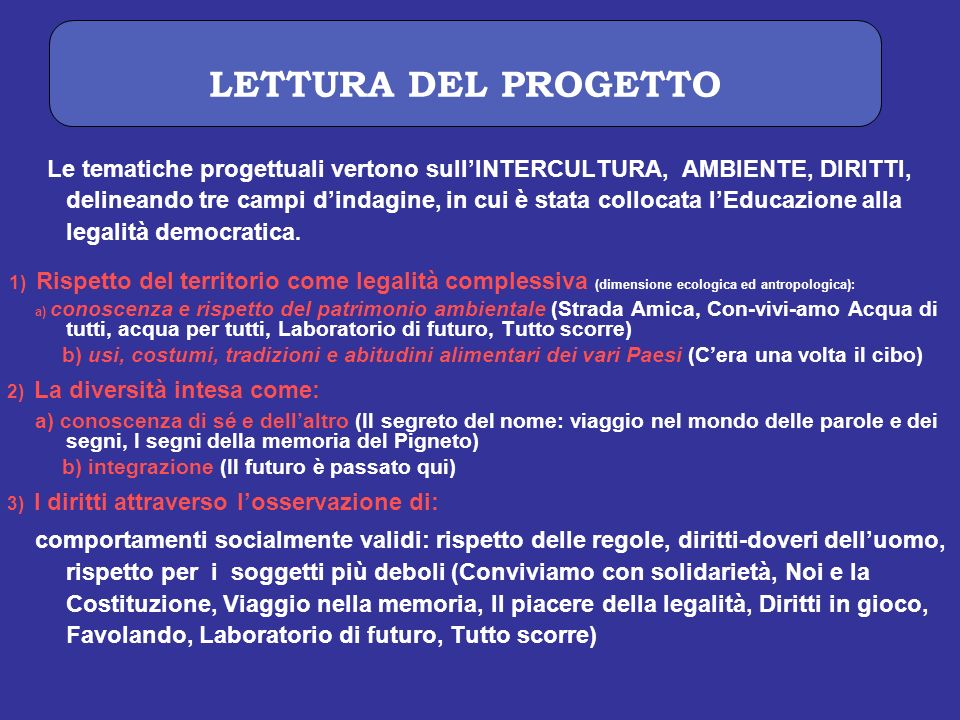 LETTURA DEL PROGETTO