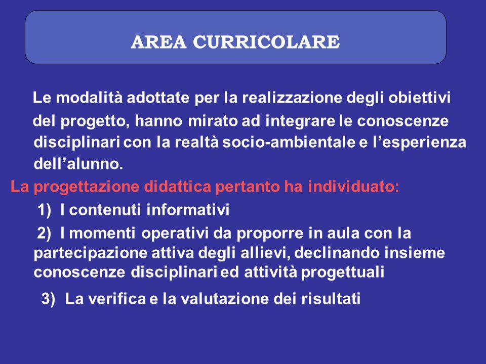 AREA CURRICOLARE Le modalità adottate per la realizzazione degli obiettivi.
