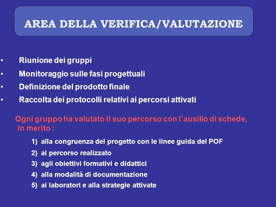 AREA DELLA VERIFICA/VALUTAZIONE