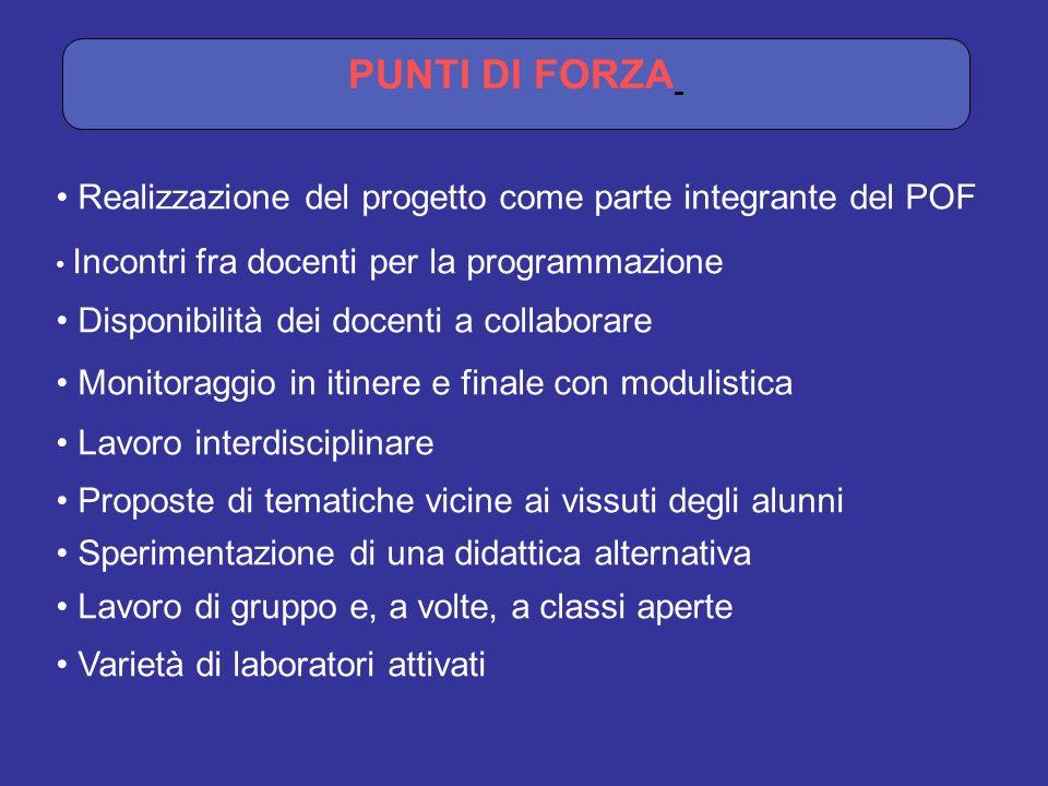 PUNTI DI FORZA Realizzazione del progetto come parte integrante del POF. Incontri fra docenti per la programmazione.