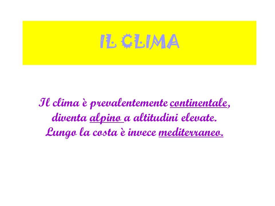 IL CLIMA Il clima è prevalentemente continentale, diventa alpino a altitudini elevate.