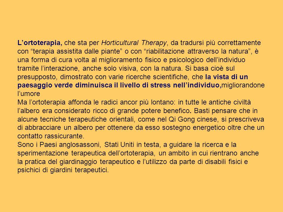 L'ortoterapia, che sta per Horticultural Therapy, da tradursi più correttamente con terapia assistita dalle piante o con riabilitazione attraverso la natura , è una forma di cura volta al miglioramento fisico e psicologico dell'individuo tramite l'interazione, anche solo visiva, con la natura. Si basa cioè sul presupposto, dimostrato con varie ricerche scientifiche, che la vista di un paesaggio verde diminuisca il livello di stress nell'individuo,migliorandone l'umore