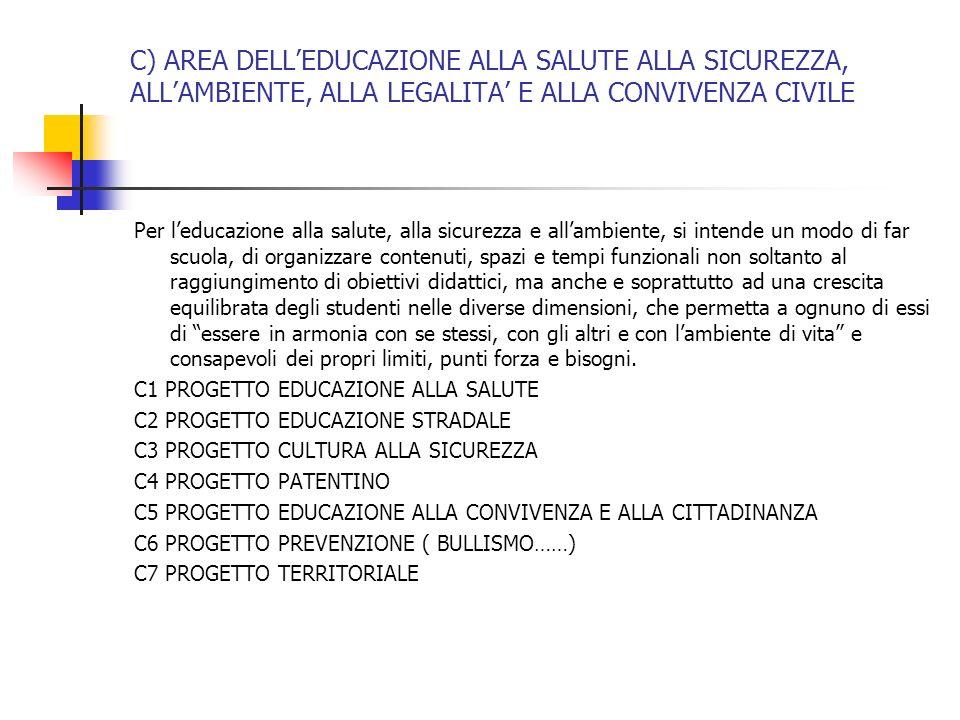 C) AREA DELL'EDUCAZIONE ALLA SALUTE ALLA SICUREZZA, ALL'AMBIENTE, ALLA LEGALITA' E ALLA CONVIVENZA CIVILE