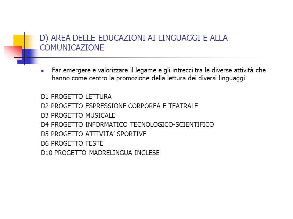 D) AREA DELLE EDUCAZIONI AI LINGUAGGI E ALLA COMUNICAZIONE