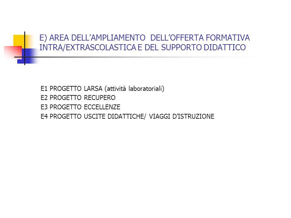 E) AREA DELL'AMPLIAMENTO DELL'OFFERTA FORMATIVA INTRA/EXTRASCOLASTICA E DEL SUPPORTO DIDATTICO