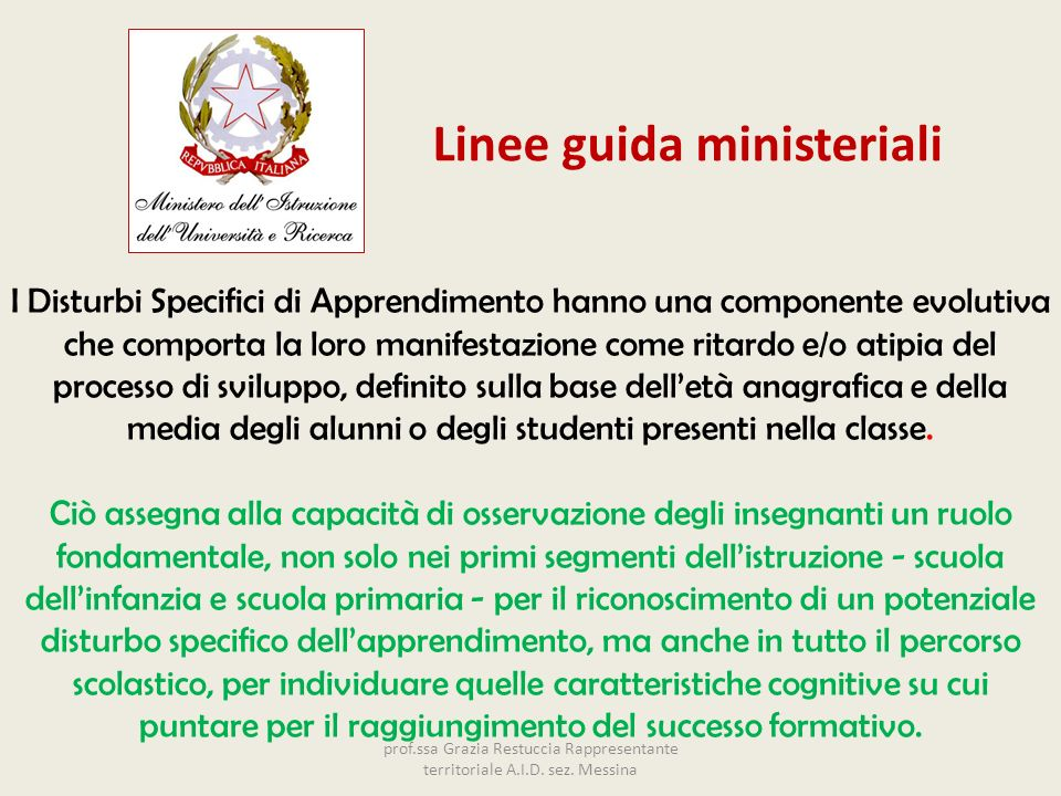 Linee guida ministeriali