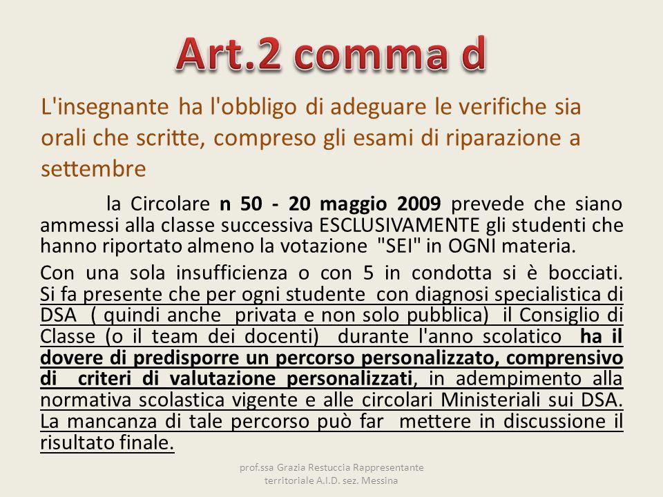 Art.2 comma d L insegnante ha l obbligo di adeguare le verifiche sia orali che scritte, compreso gli esami di riparazione a settembre.