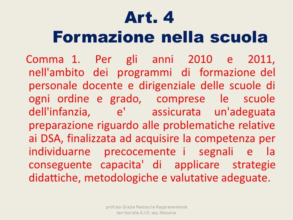 Art. 4 Formazione nella scuola