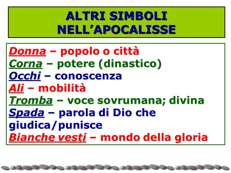 ALTRI SIMBOLI NELL'APOCALISSE