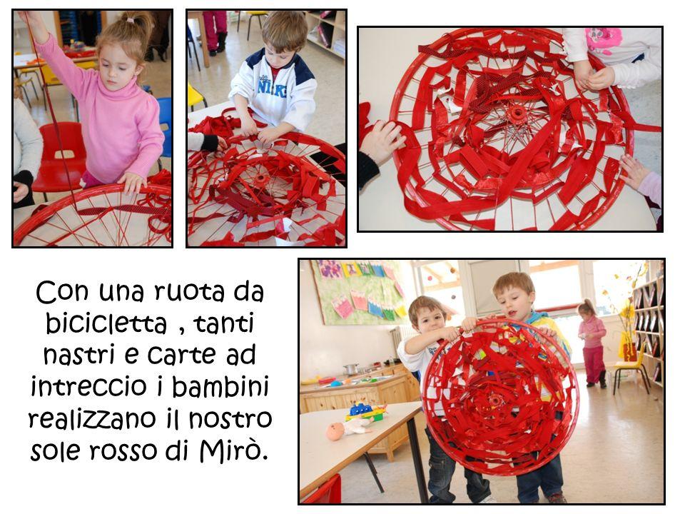 Con una ruota da bicicletta , tanti nastri e carte ad intreccio i bambini realizzano il nostro sole rosso di Mirò.