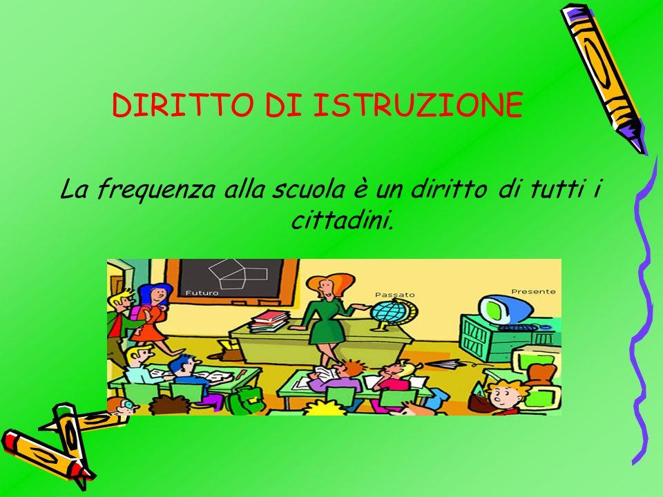 La frequenza alla scuola è un diritto di tutti i cittadini.