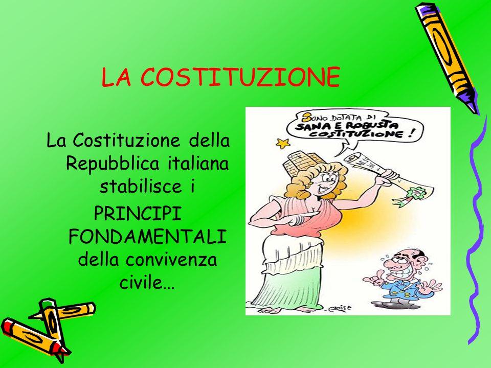 LA COSTITUZIONE La Costituzione della Repubblica italiana stabilisce i