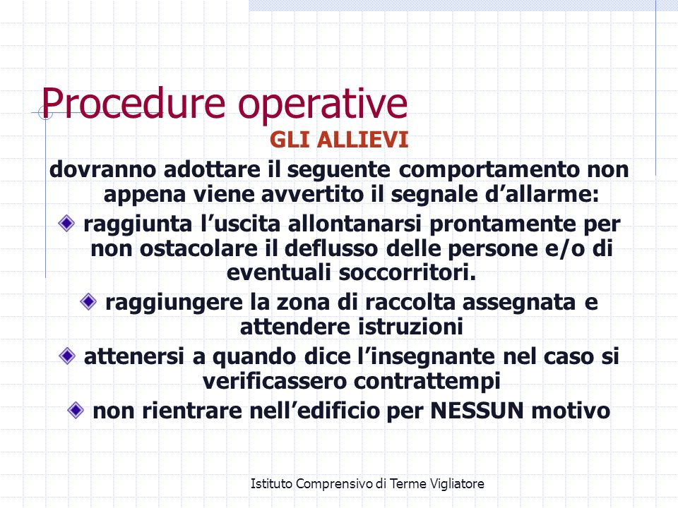Procedure operative GLI ALLIEVI