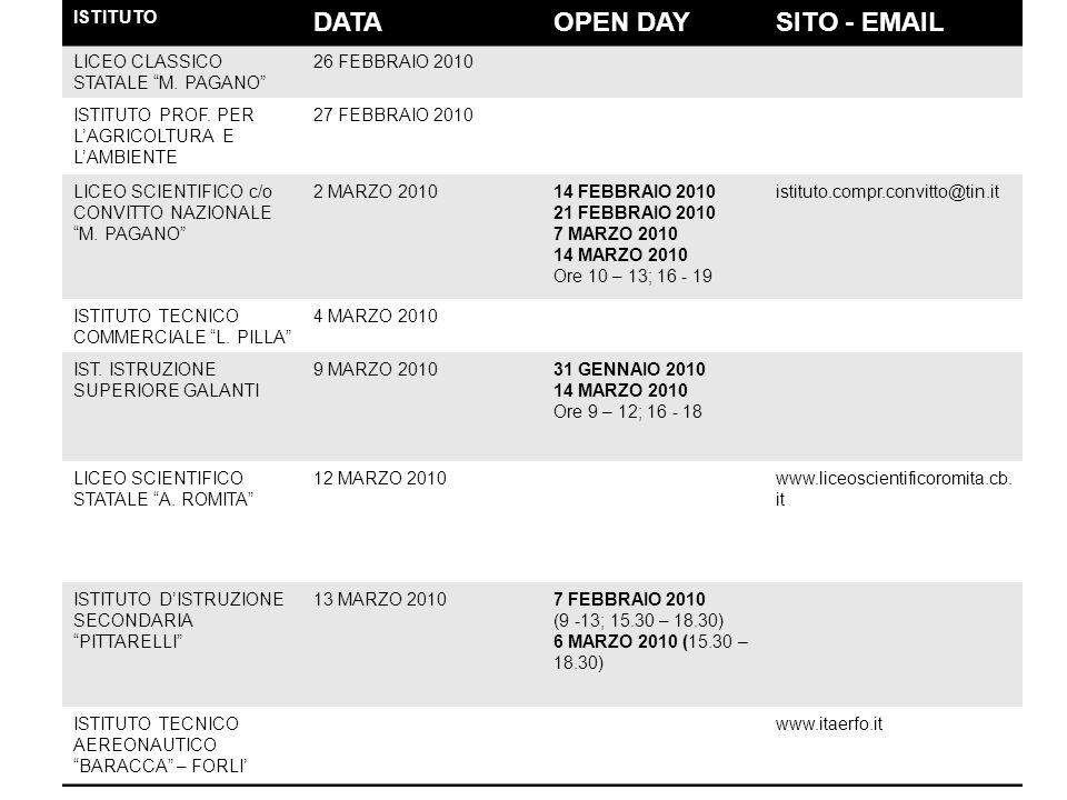 DATA OPEN DAY SITO - EMAIL ISTITUTO LICEO CLASSICO STATALE M. PAGANO