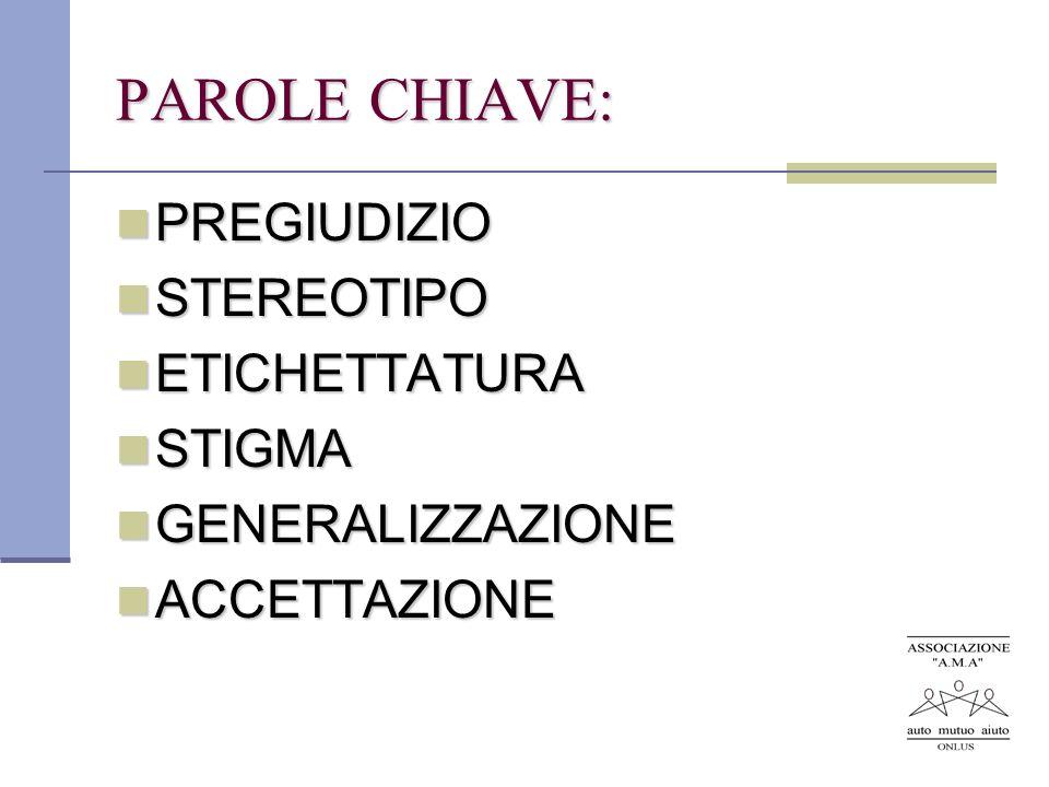 PAROLE CHIAVE: PREGIUDIZIO STEREOTIPO ETICHETTATURA STIGMA