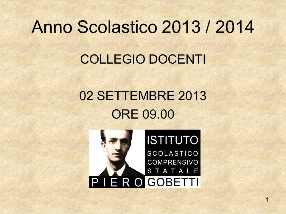 COLLEGIO DOCENTI 02 SETTEMBRE 2013 ORE 09.00