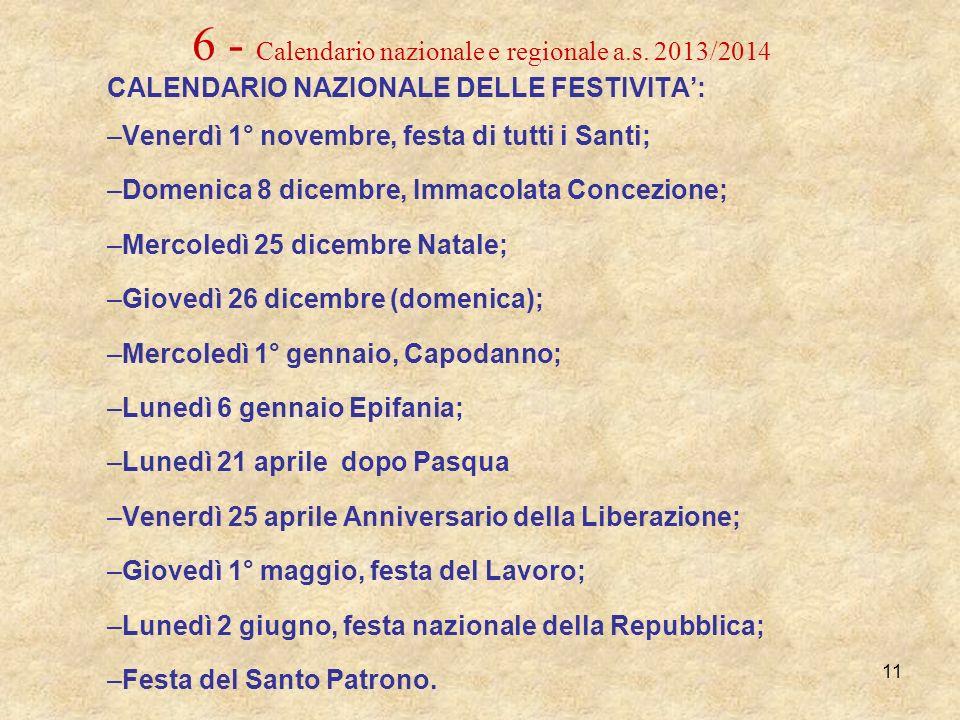 6 - Calendario nazionale e regionale a.s. 2013/2014