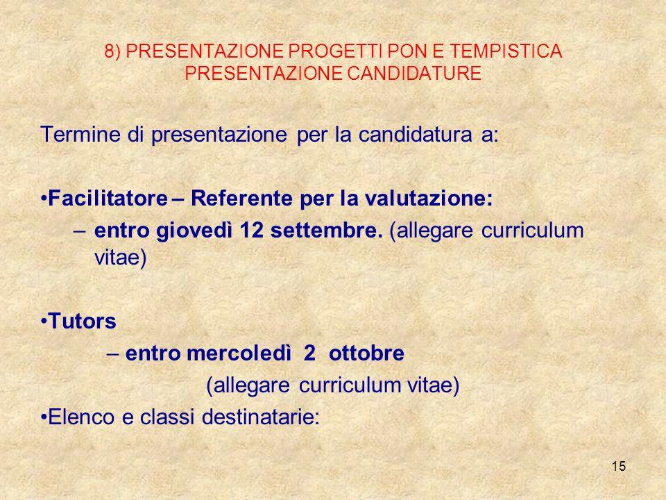 8) PRESENTAZIONE PROGETTI PON E TEMPISTICA PRESENTAZIONE CANDIDATURE